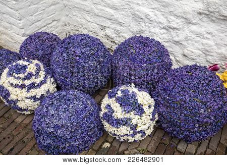 Noordwijkerhout, Netherlands - April 23,  2017: Balls Made Of Hyacinths At The Traditional Flowers P