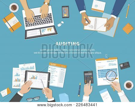 Business Meeting, Audit,  Calculation, Data Analysis, Reporting, Accounting. People At Work. Human H