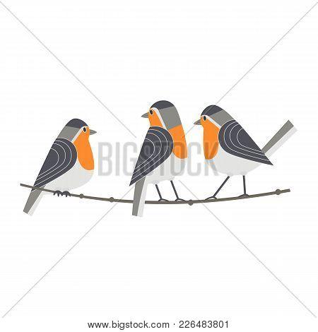 Cute Robin Birds Icon. Cartoon Comic Style. Winter Birds Of City Garden, Backyard. Stylized Funny An