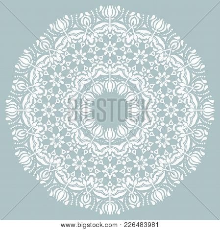 Oriental Round White Pattern With Arabesques And Floral Elements. Traditional Classic Ornament. Vint