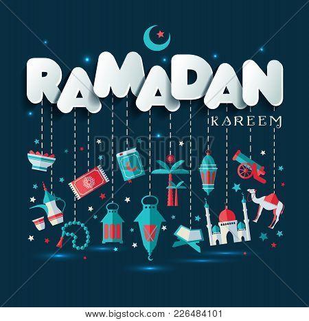 Ramadan Kareem Greting Illustration Of Ramadan Celebration On Dark.