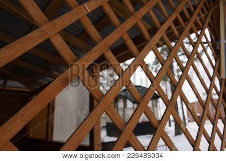 Wooden Grating, Decorative Fencing. Texture. Close Up