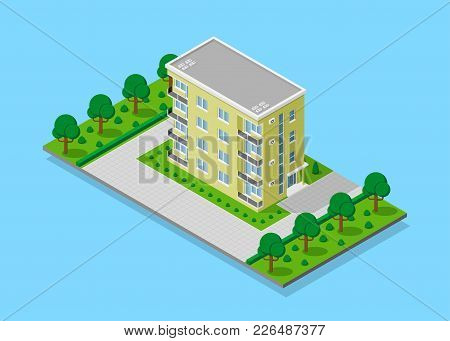 Picture Of Appartent House With Footpaths, Trees And Street Lights, Low Poly Town Building, Isometri
