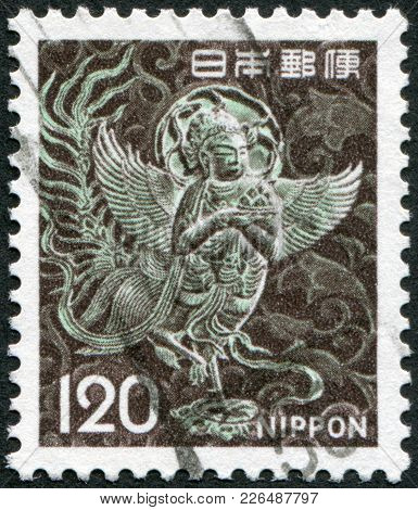 Japan - Circa 1972: A Stamp Printed In Japan, Depicts Mythical Winged Woman, Chusonji, Circa 1972