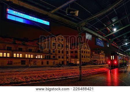 Liberec, Czech Republic - January 20, 2018: Information Board And Passenger Train Before Way To Usti