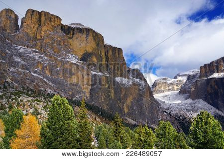 Autumn colours in Sella Gruppe and Piz Boe, Dolomites Mountains, Italy