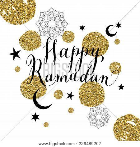 Happy Ramadan Illustration With Symbol Of Ramadan.