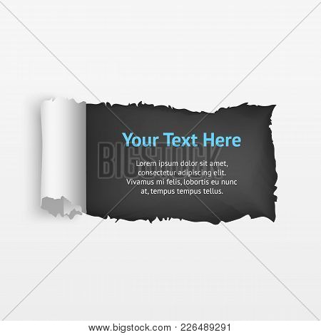 Realistic Detailed Torn Hole Paper On A Background Decorative Effect For Web Design. Vector Illustra