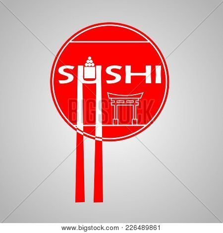 Poster With Red Circle And Sushi Bar Logo On And White Background. Japanese Traditional Cuisine Bann