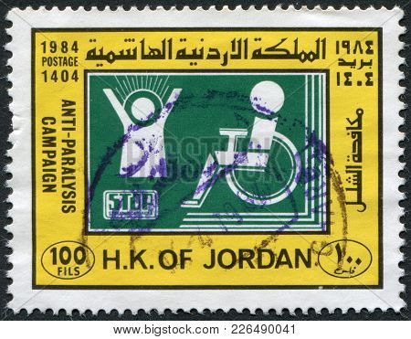 Jordan-circa 1984: A Stamp Printed In The Jordan, Is Devoted To Anti-polio Campaign, Circa 1984