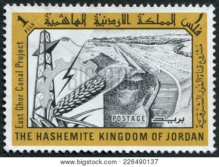 Jordan-circa 1963: A Stamp Printed In The Jordan, Is Devoted To East Ghor Canal Project, Circa 1963
