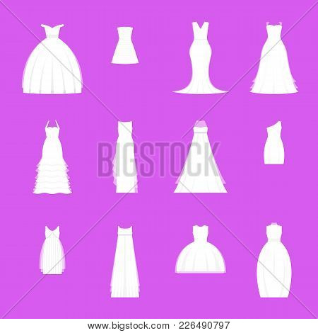 Wedding Dresses Set On Mannequin Marriage Romantic Fashion Design For Ceremony On A Pink. Vector Ill