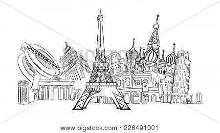 Travel To Europe Landmarks. Tourism Sketch Concept With Famous Buildings. Travelling Vector Illustra