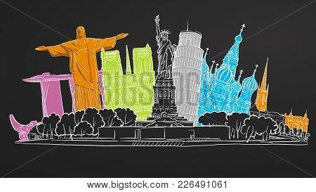 Famous Travel Banner Sketch On Blackboard. Tourism Concept With Landmarks. Travelling Vector Illustr