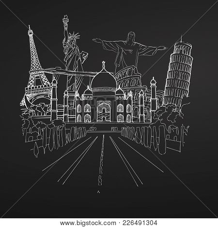Travel To World Collection On Chalkboard. Tourism Sketch Concept With Landmarks. Travelling Vector I