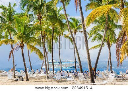 Island Bacardi ( Cayo Levantado), Samana, Dominican Republic. January 2018. Beautiful And Bright Isl
