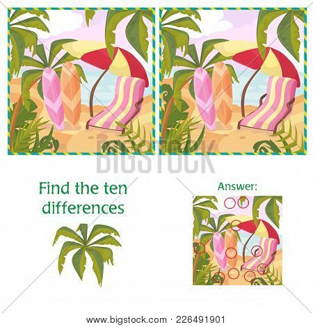 Find The 10 Differences Puzzle With Answer. Cartoon Summer Beach And Sea Nature And Plants