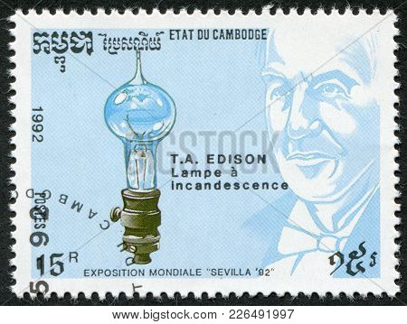 Kampuchea-circa 1992: A Stamp Printed In The Cambodia, Devoted Expo-92 In Seville, Shows Thomas Edis