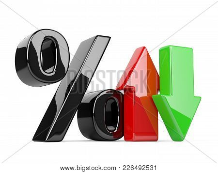 Glossy Percent Symbol With An Red And Green Arrow Up And Down. Bussines Growing Concept. 3d Illustra