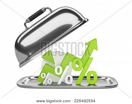 Graph, Diagram And Green Percent Signs On A Square Restaurant Cloche With Open Lid. Business Concept