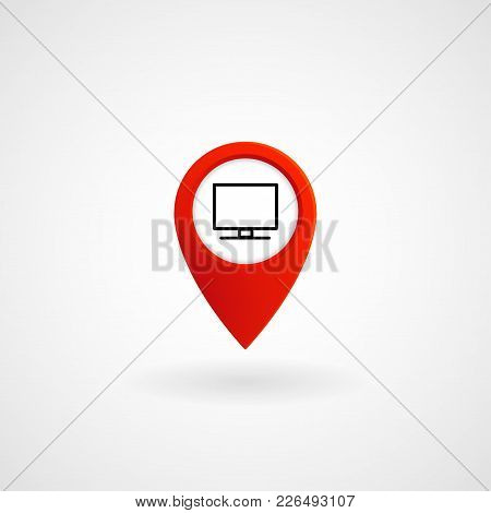 Red Location Icon For Computer Center, Vector, Illustration, Eps File