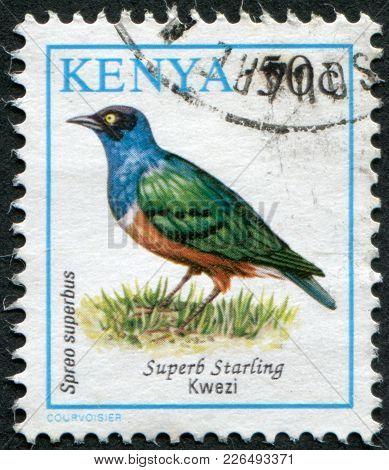 Kenya - Circa 1993: Postage Stamps Printed In Kenya, Shows A Bird The Superb Starling (lamprotornis