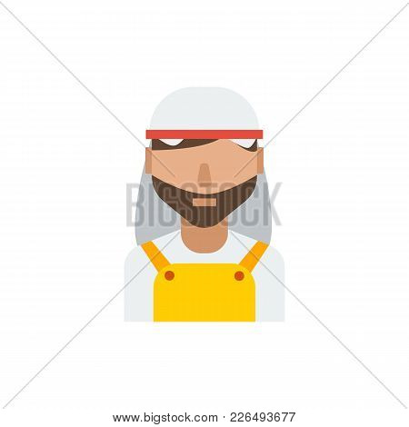 Arab Worker Icon Flat Symbol. Isolated Vector Illustration Of Arab Person Sign Concept For Your Web