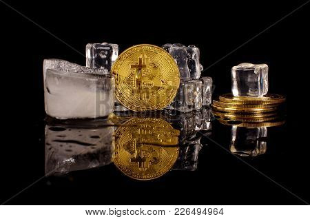 Bitcoin Coin Surrounded By Ice Cubes As A Concept Of Restrictions