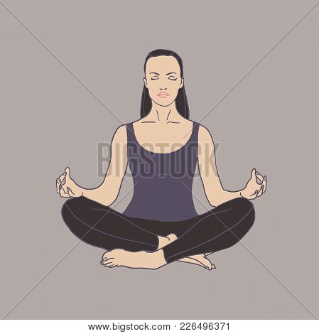 Young Woman Practicing Yoga Icon. The Concept Of Healthy Lifestyle. Icon For Yoga Center. Stretching