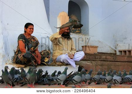 Pushkar, India - February 23: An Unidentified Man And Unidentified Woman Feed Pigeons Near Holy Lake