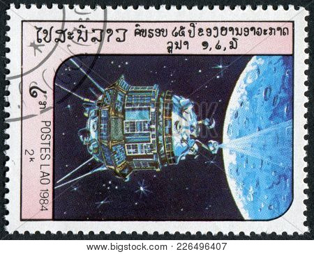 Laos-circa 1984: A Stamp Printed In The Laos, Depicts The Spacecraft Luna 3, Circa 1984