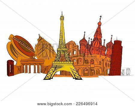 Travel To Europe. Road Trip. Tourism Sketch Concept With Landmarks. Travelling Vector Illustration.
