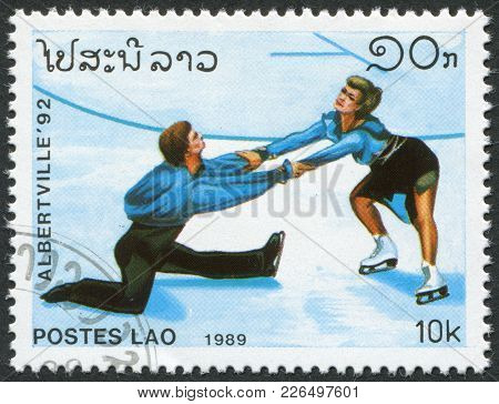Laos-circa 1989: A Stamp Printed In The Laos, Dedicated Dedicated Winter Olympics Albertville, Depic