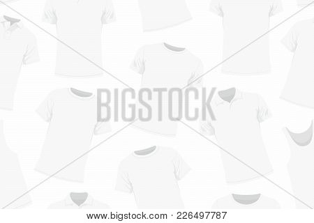 Seamless Pattern Of White Clothes. Background Of Clothing. Scattered Clothes