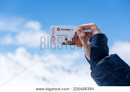 Terskol, Kabardino-balkaria, Russia - May 21, 2016: Skipass Of Cableway On The  Mount Elbrus On The