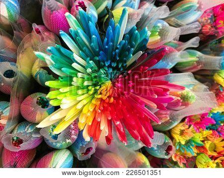 closeup flower coloful gerbera on shop .