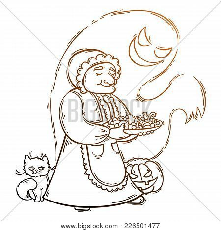 Cute Granny With Ghost And Cat Near Pumpkin. Halloween Card Or Poster. Vector Illustration.