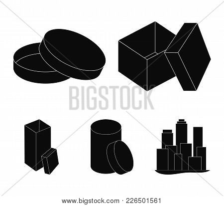 Box, Container, Package, And Other  Icon In Black Style.case, Shell, Framework, Icons In Set Collect