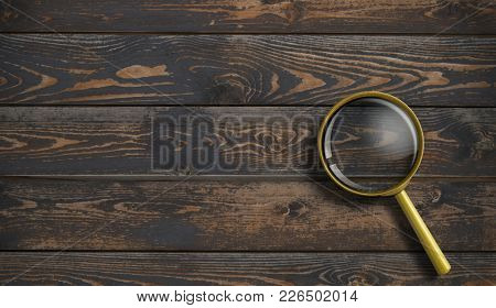 Magnifying glass on wooden desk or table background top view 3d illustration