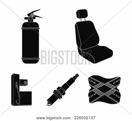 Chair With Headrest, Fire Extinguisher, Car Candle, Petrol Station, Car Set Collection Icons In Blac