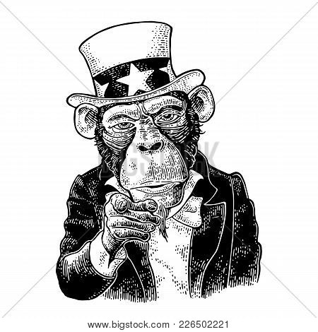 Monkey Uncle Sam With Pointing Finger At Viewer, From Front. I Want You. Vintage Black Engraving Ill