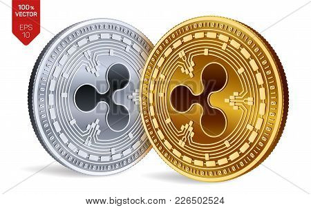 Ripple. 3d Isometric Physical Coins. Digital Currency. Crypto Currency. Golden And Silver Coins With