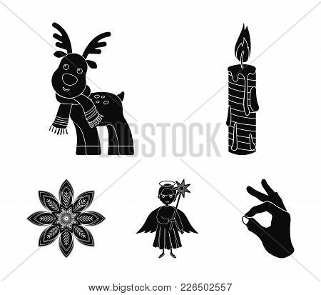 Christmas Candle, Deer, Angel And Snowflake Black Icons In Set Collection For Design. Christmas Vect