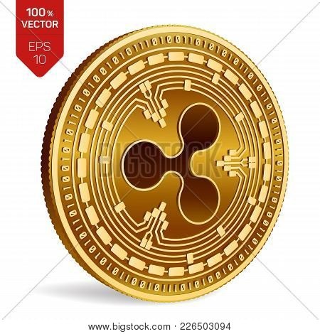Ripple. 3d Isometric Physical Coin. Digital Currency. Crypto Currency. Golden Coin With Ripple Symbo