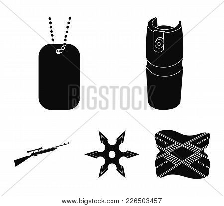 A Gas Cylinder, A Soldier's Token, A Sniper Rifle, A Shuriken. Weapons Set Collection Icons In Black