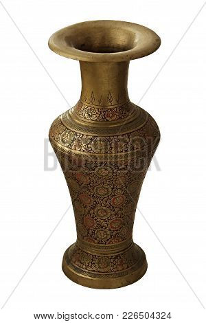 Ancient Indian Brass Or Bronze Carved Vase With A Floral Pattern Isolated On A White Background