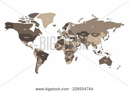 Political Map Of World. Simplified Vector Map.