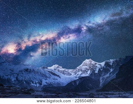 Space. Milky Way And Mountains. Fantastic View With Mountains And Starry Sky At Night In Nepal. Moun