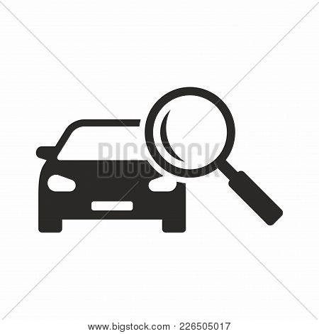 Looking For A Car. Vector Icon Isolated On White Background.