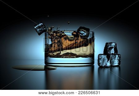 Glass Of Whiskey With Ice Cubes Served On Dark Table